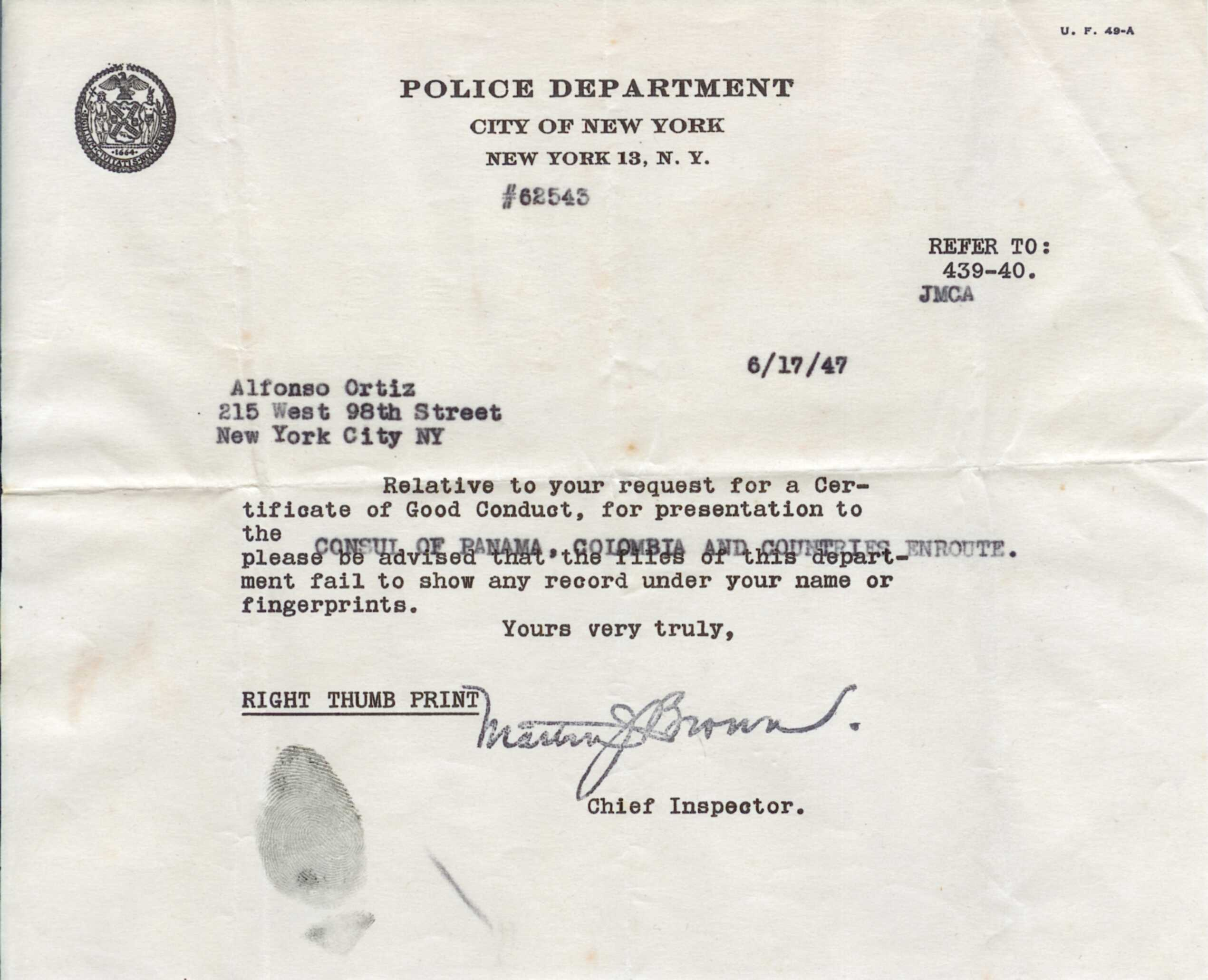 Documents nyc police conduct certificate for panamian consulate 1betcityfo Gallery